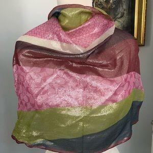 """Coach silk metallic 20"""" square scarf, multicolor"""